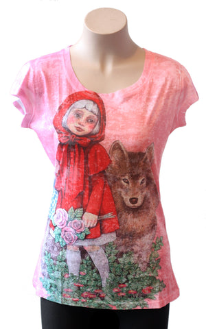 Pink and Red Riding Hood Burnout Tee