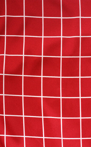 Red Windowpane Circle Skirt