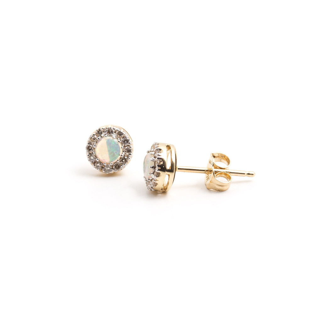 NFC - Opal and Diamond Stud in Yellow Gold