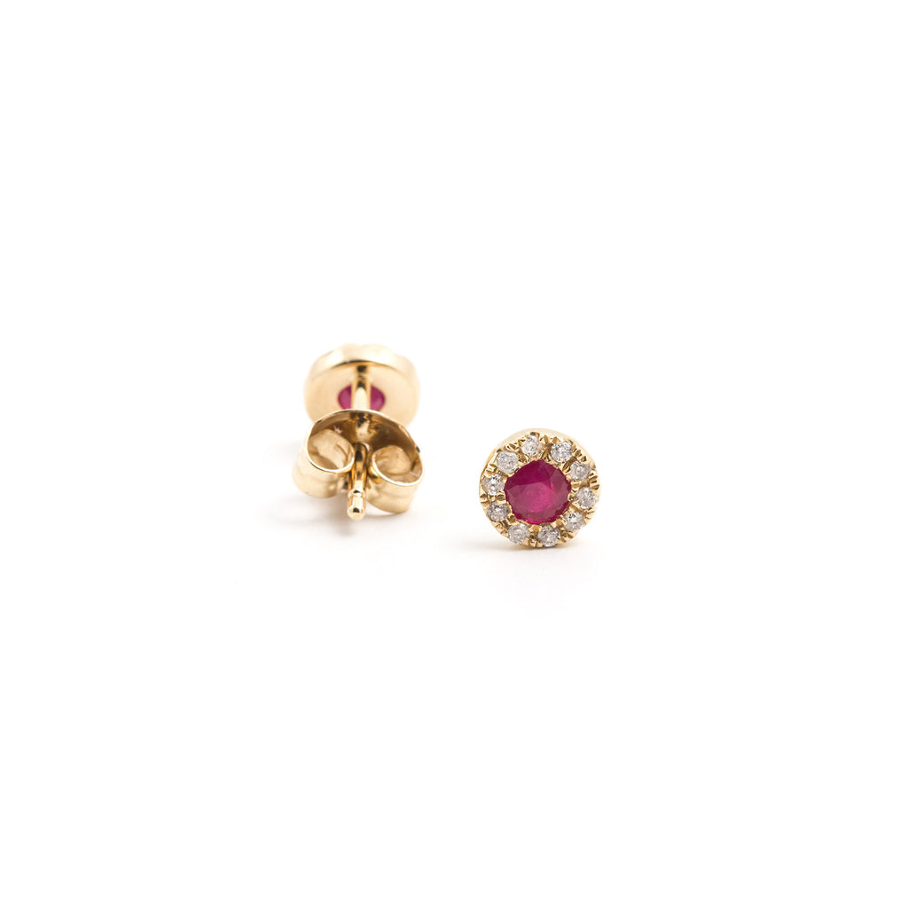NFC - Diamond and Ruby Stud in Yellow Gold
