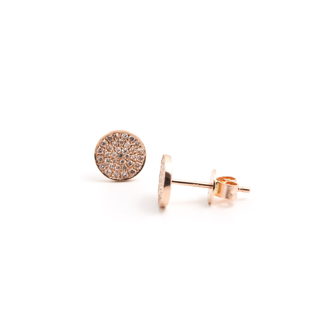 NFC - Pave' Round Stud in Rose Gold