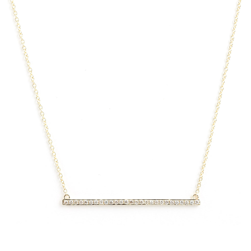 NFC - Bar Necklace with Diamonds in Yellow Gold