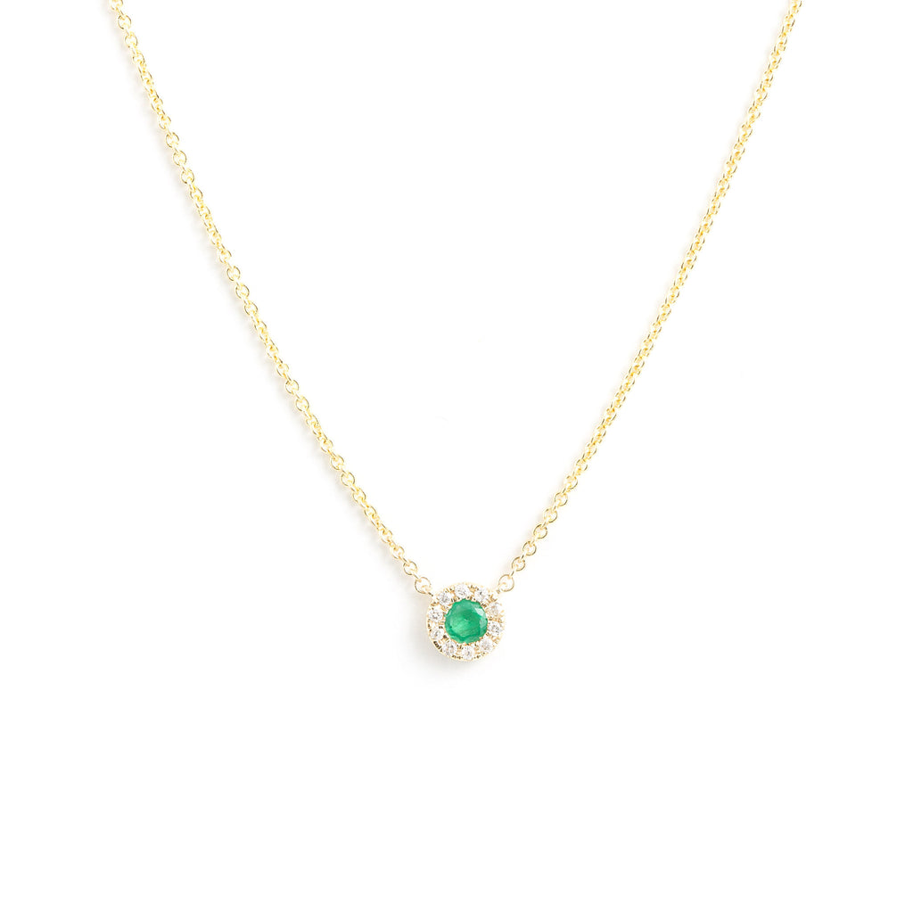 NFC - Emerald & Diamond Accented Pendant Necklace in Yellow Gold
