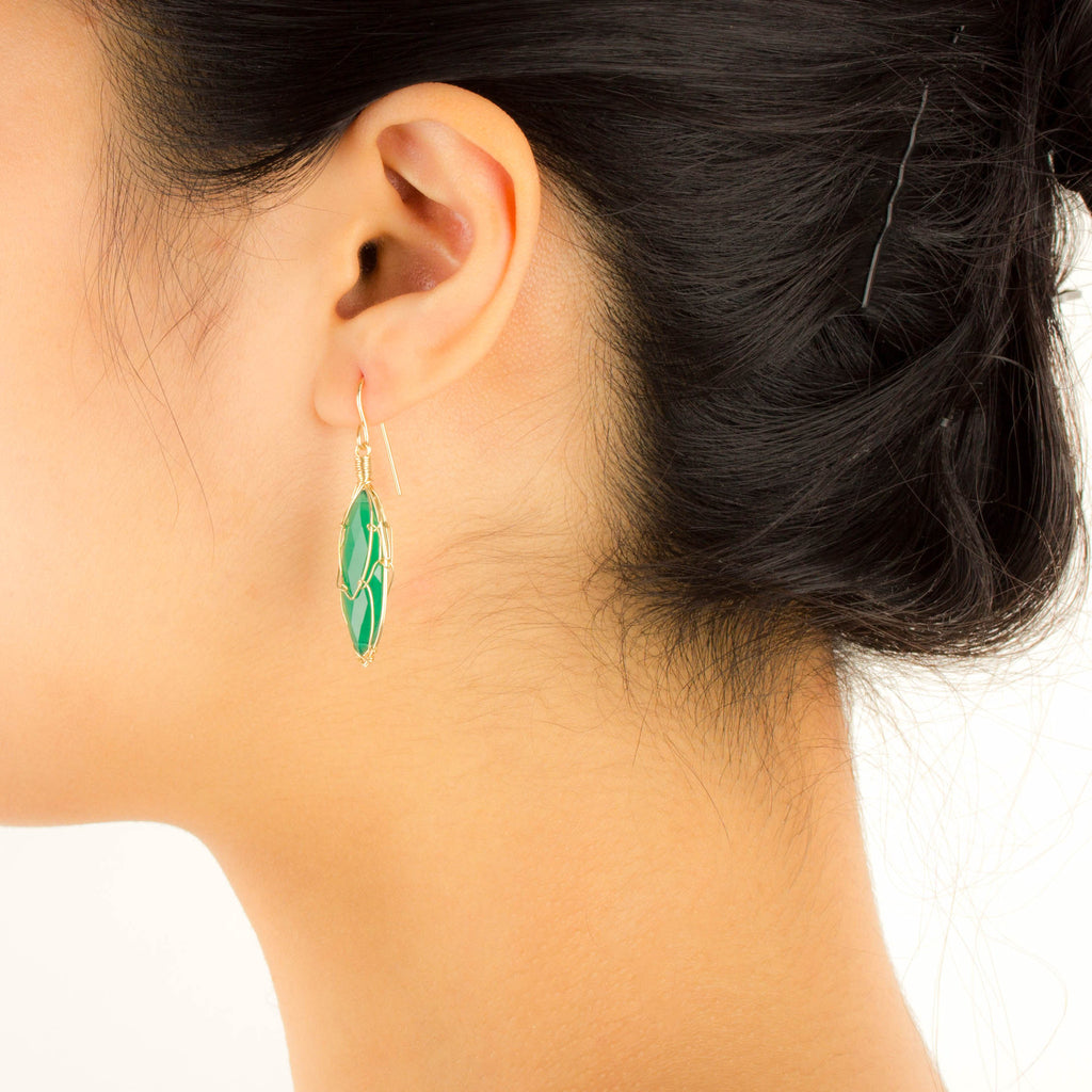 MISHA - Green Onyx Marquis Earrings