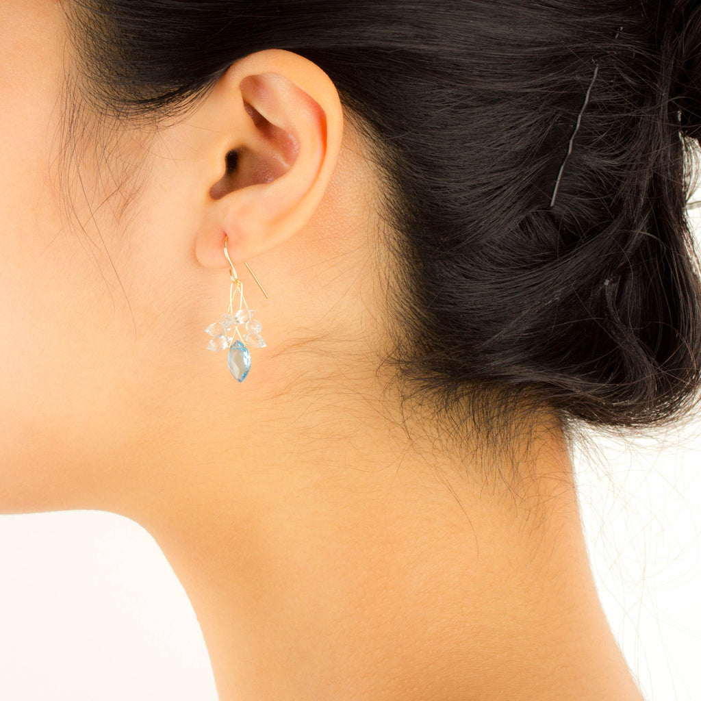 Misha - Blue and White Topaz Earrings