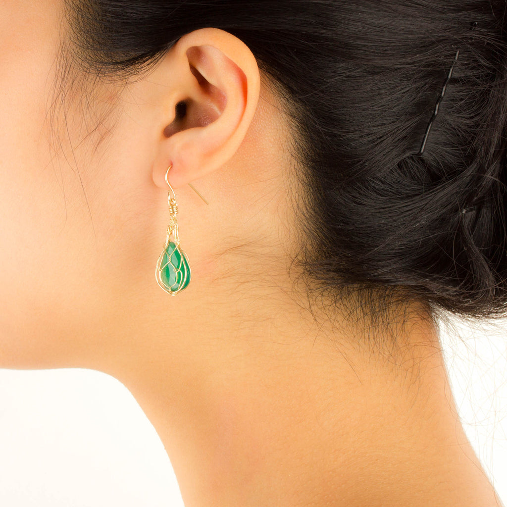 MISHA - Green Onyx Teardrop Basket Earrings
