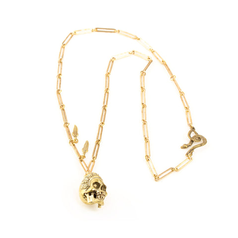 ALKEMIE JEWELRY - Skull and Feather Necklace - Norbu