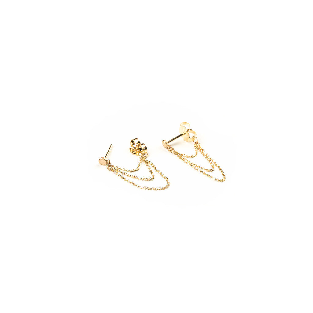 CARLA CARUSO - Tripe Layered Chain Stud Earrings - Norbu
