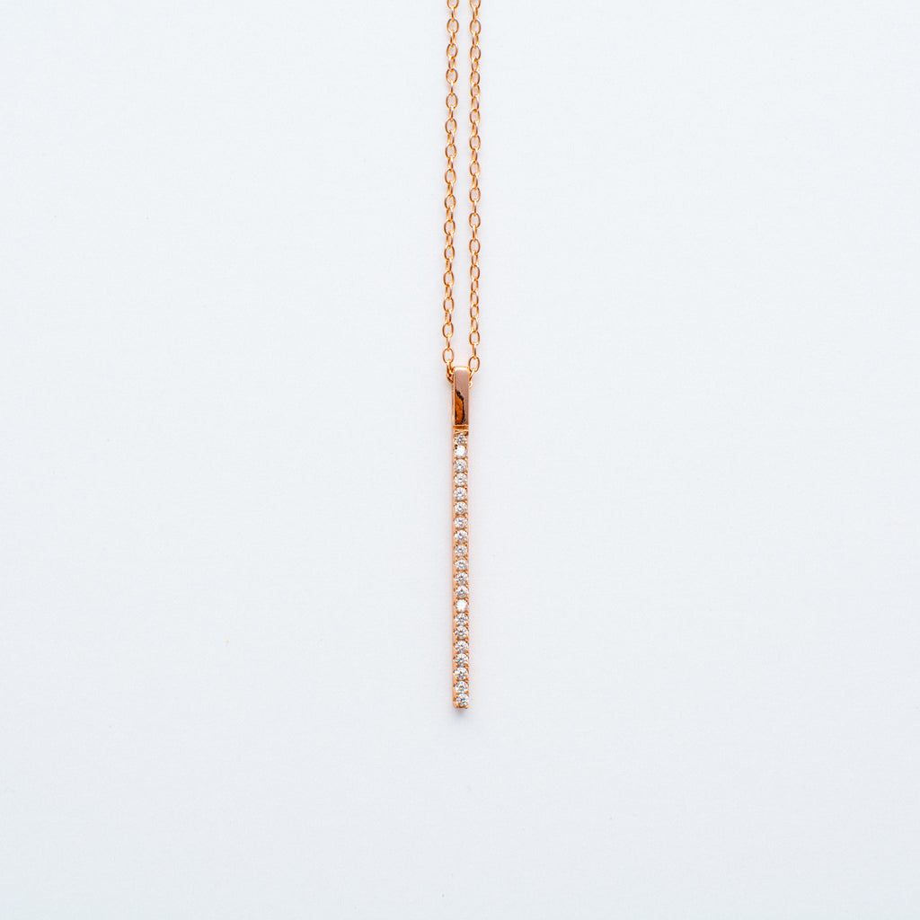NSC - Vertical CZ Bar Necklace in Gold Plated