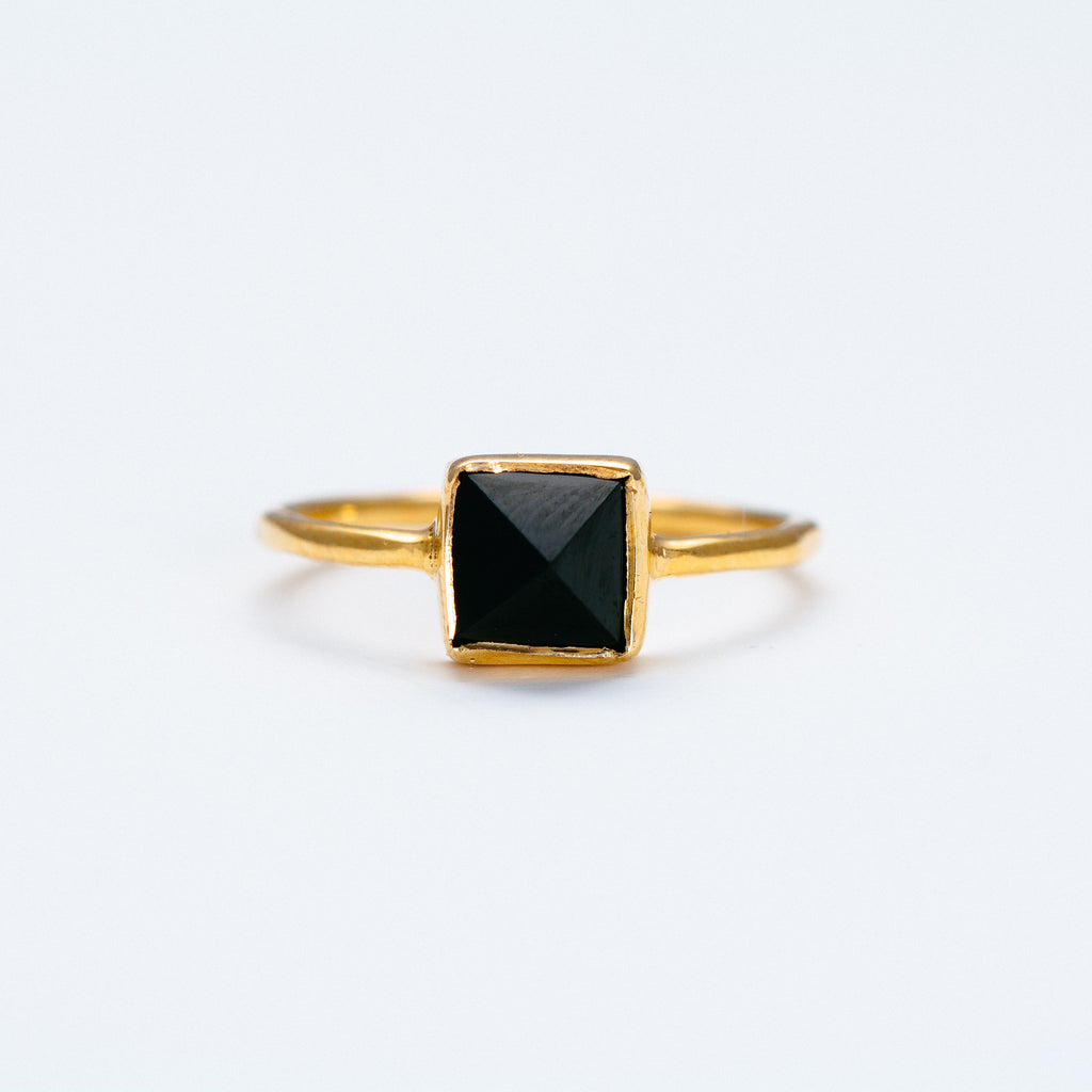NSC - Black Spinnel Pyramid Ring