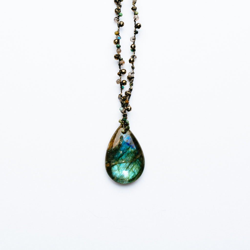 Swallow - Labradorite Teardrop Necklace