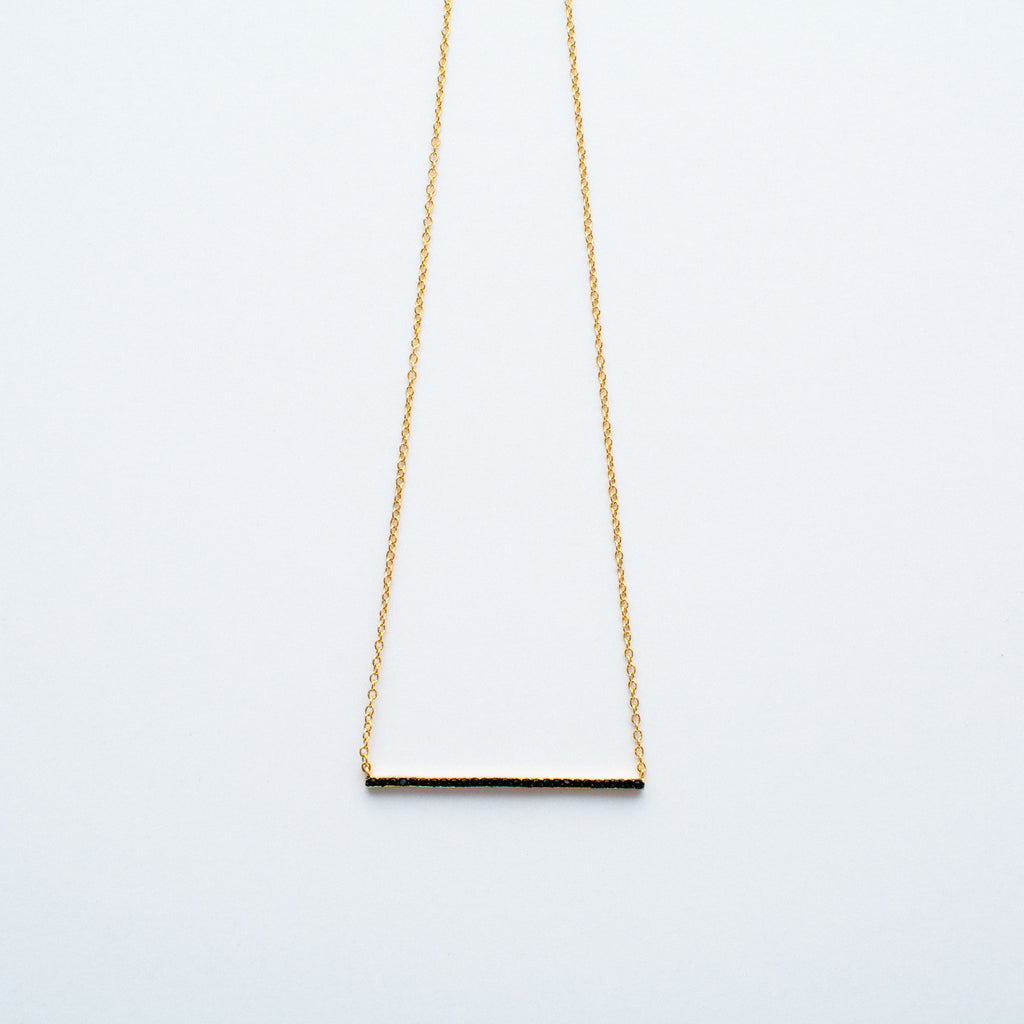 NSC - Horizontal CZ Bar Necklace in Gold Plated