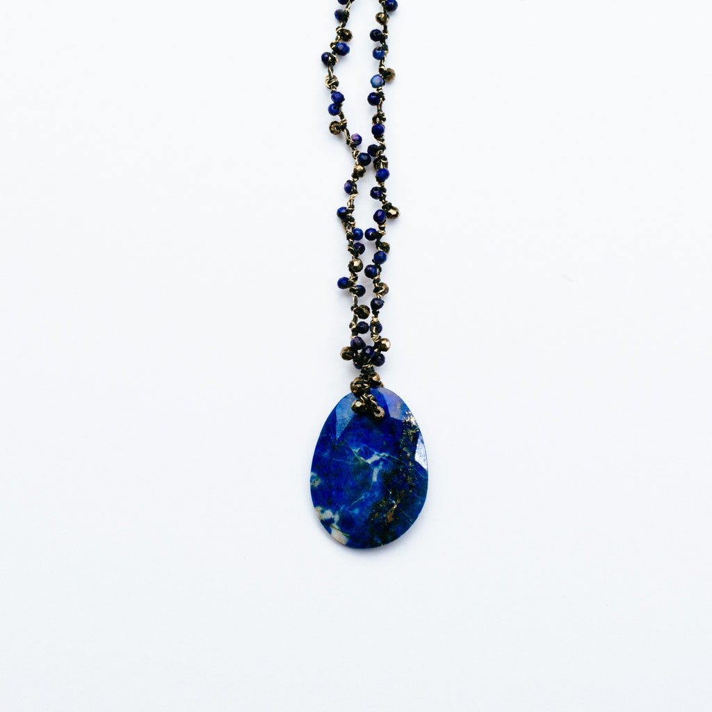 Swallow - Lapis Disc Necklace