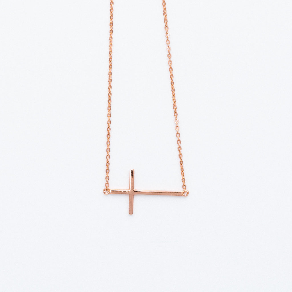 NSC - Sideway Plain Cross Necklace in Rose Gold Plated