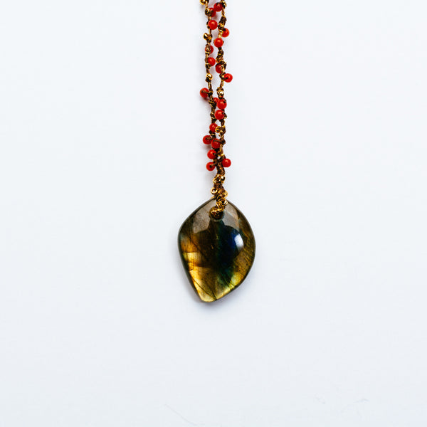 Swallow - Labradorite and Coral Necklace
