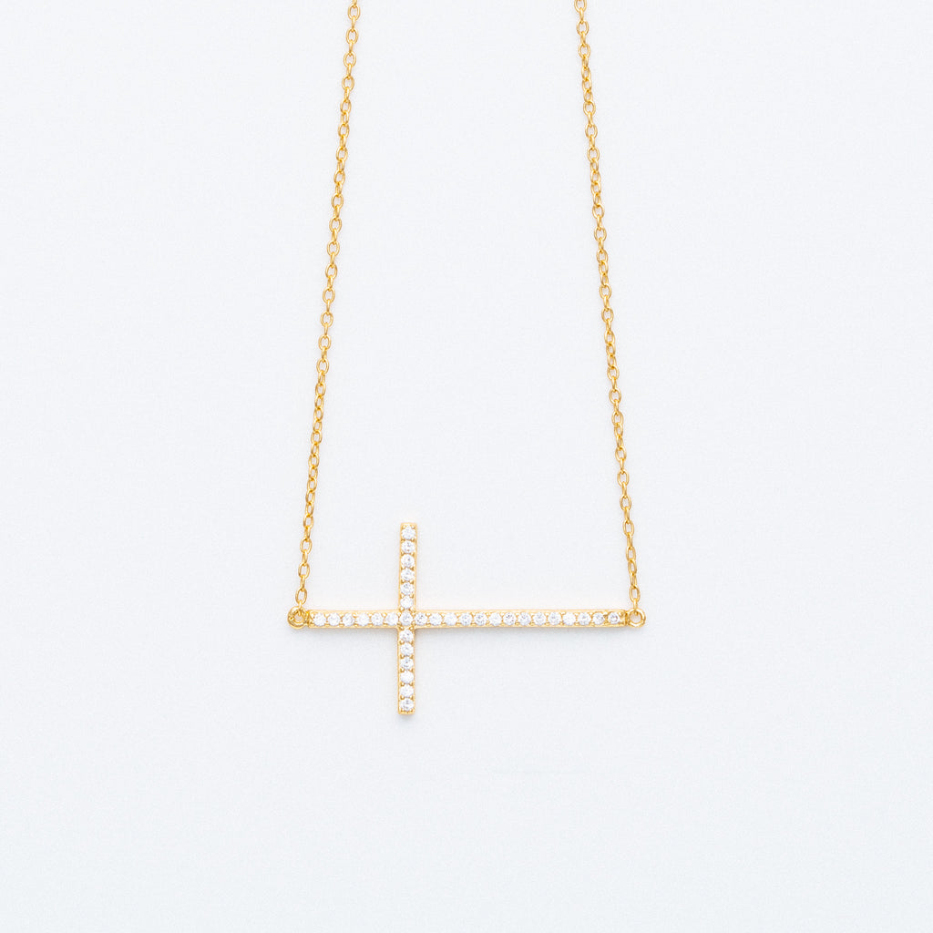 NSC - Sideway Cz Cross Necklace in Gold plated