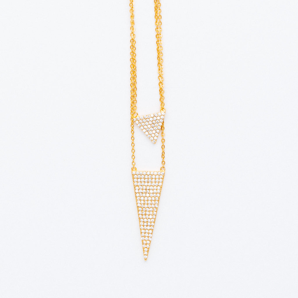 NSC - Double Pave Triangle Necklace