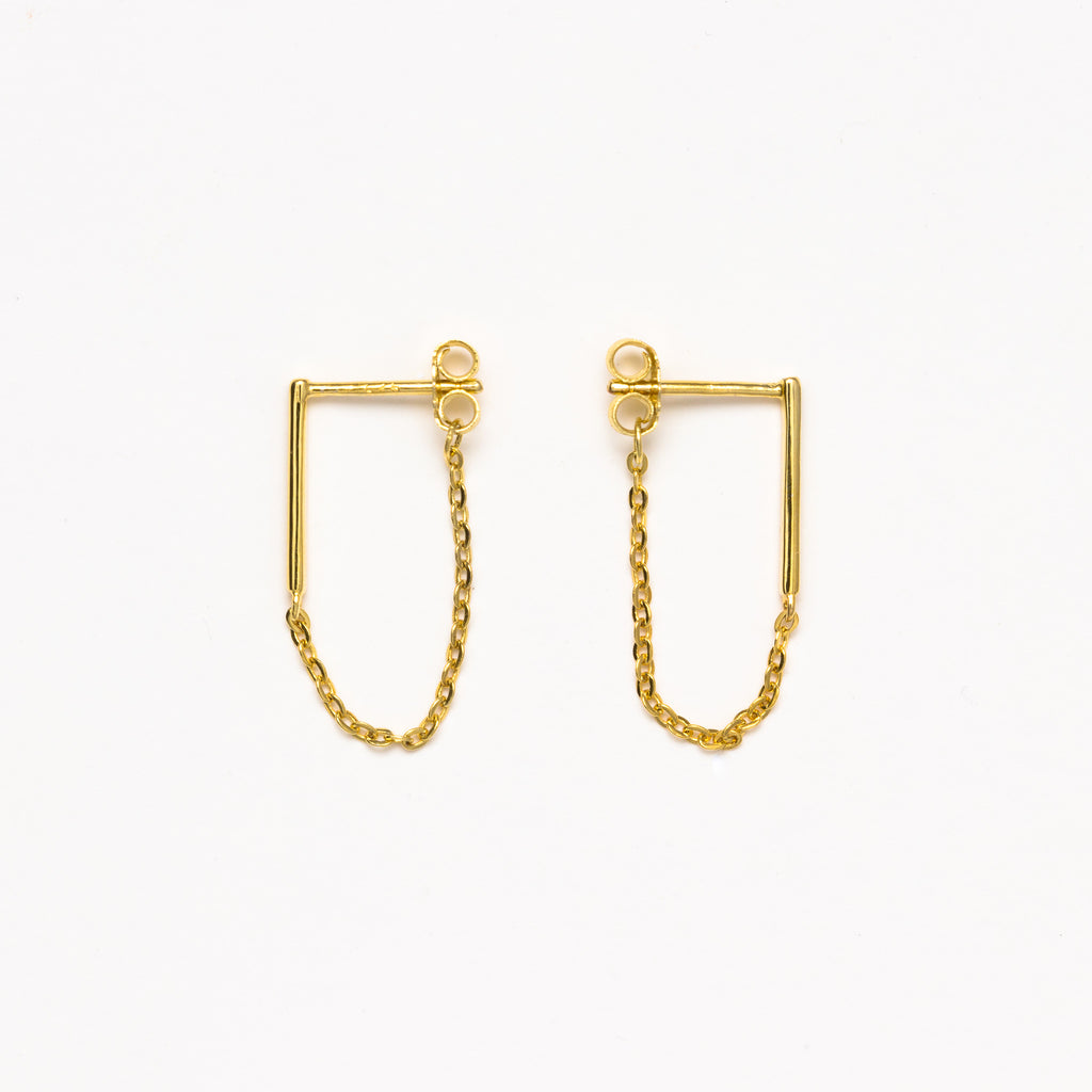 NSC - Bar and Chain Gold Earrings