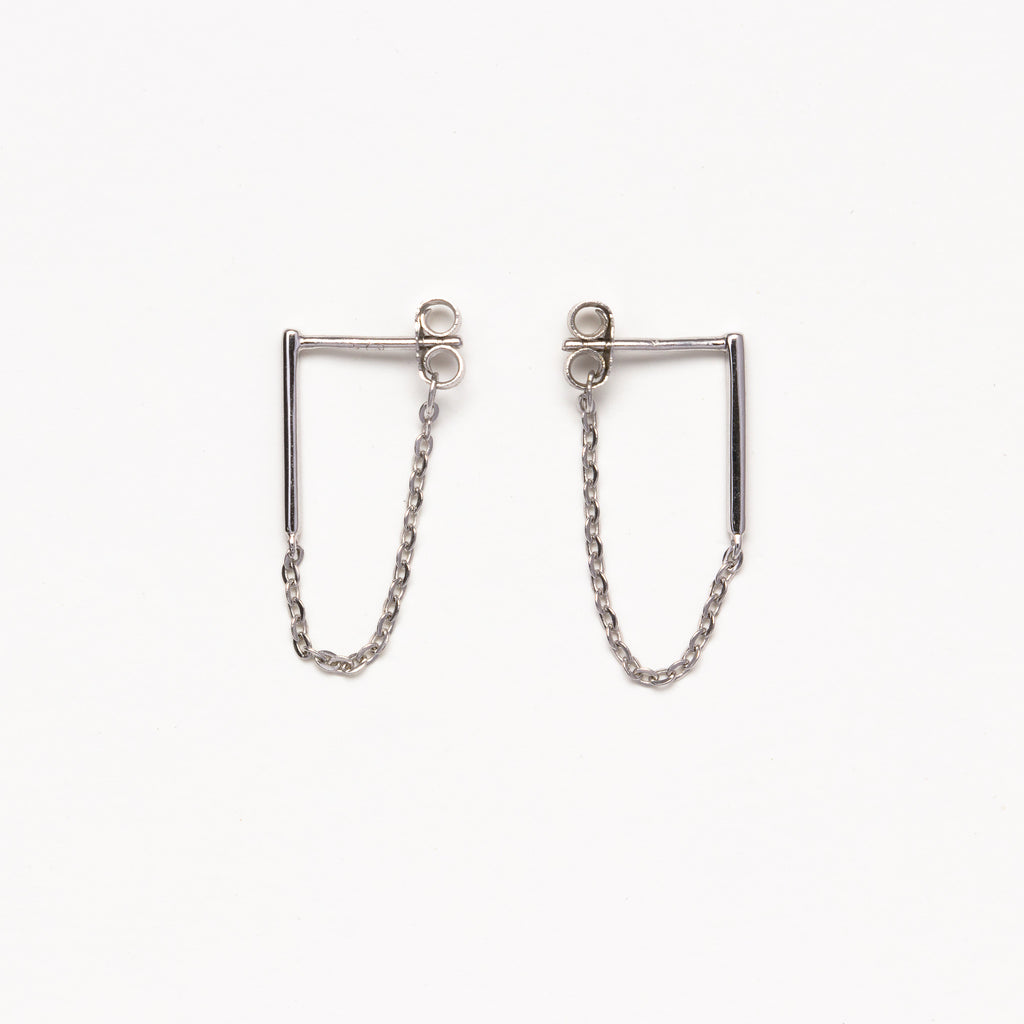 NSC - Bar and Chain Silver Earrings