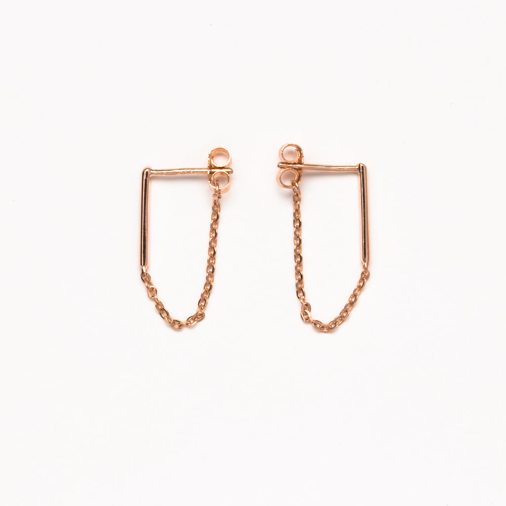 NSC - Bar and Chain Rose Earrings