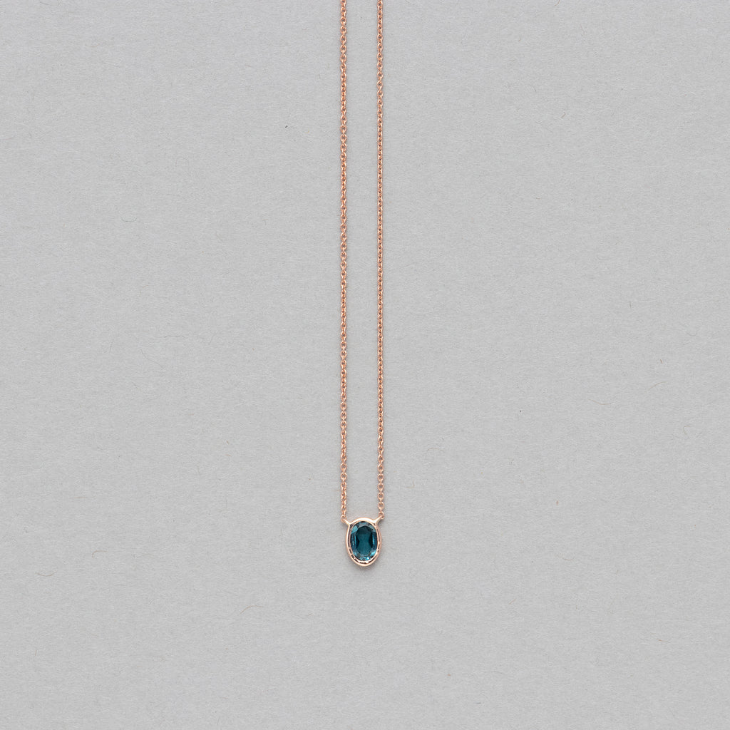 NFC - Single bezel blue topaz necklace