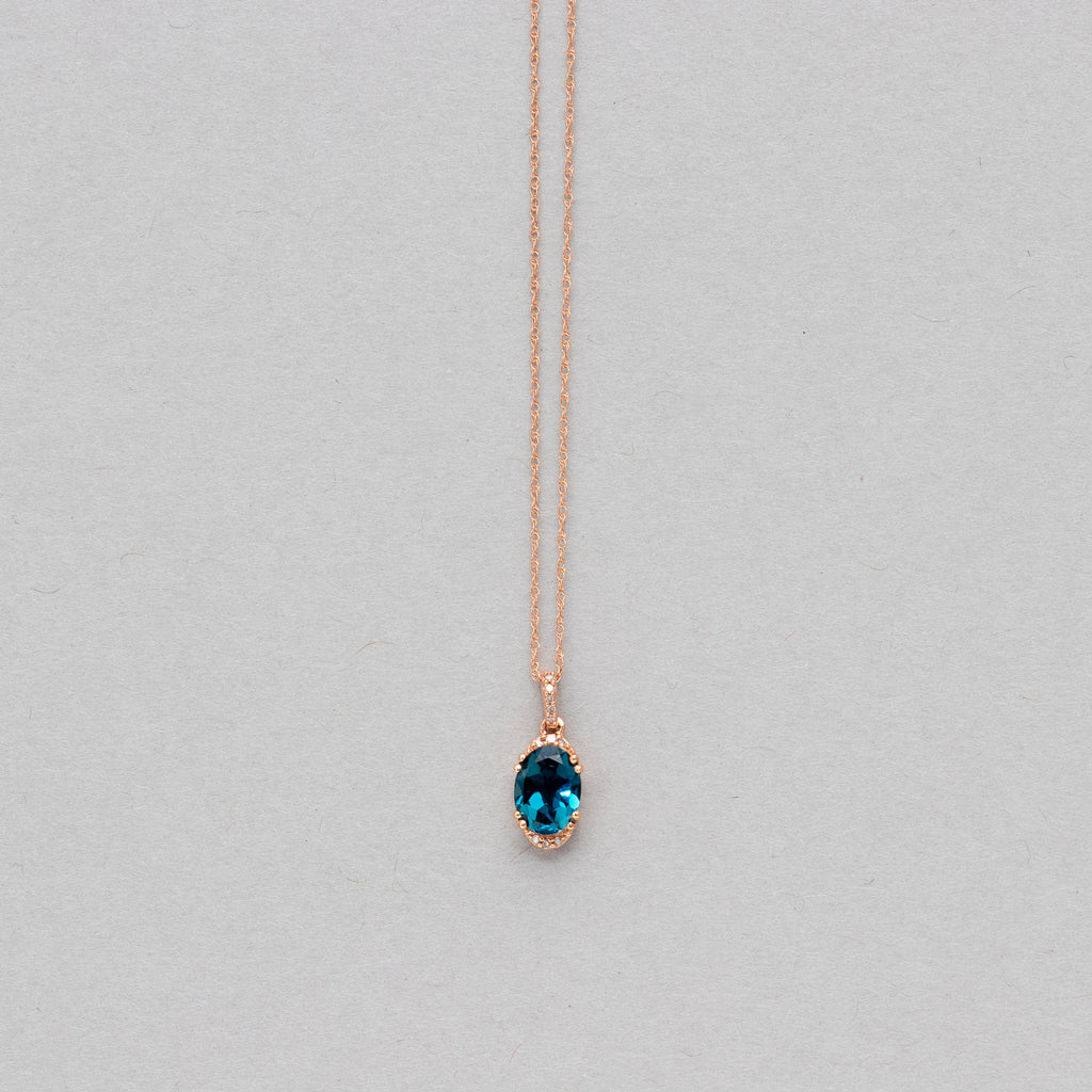 NFC - Oval Blue Topaz drop necklace