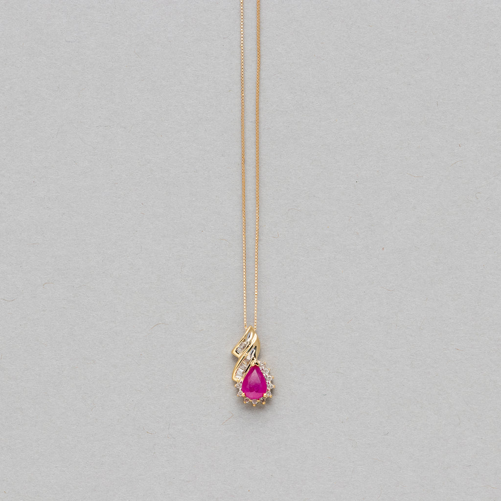 NFC - Pear shaped gemstone and diamond necklace