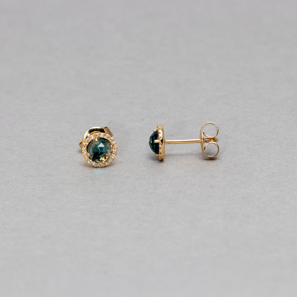 Liven - 5.0mm Gemstone and Diamond stud earrings
