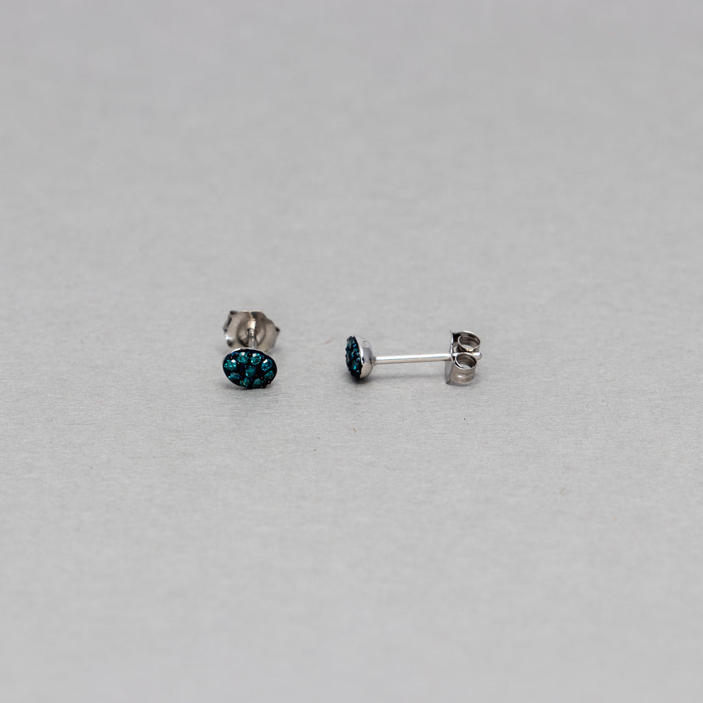 NFC - Oval blue diamond stud earrings