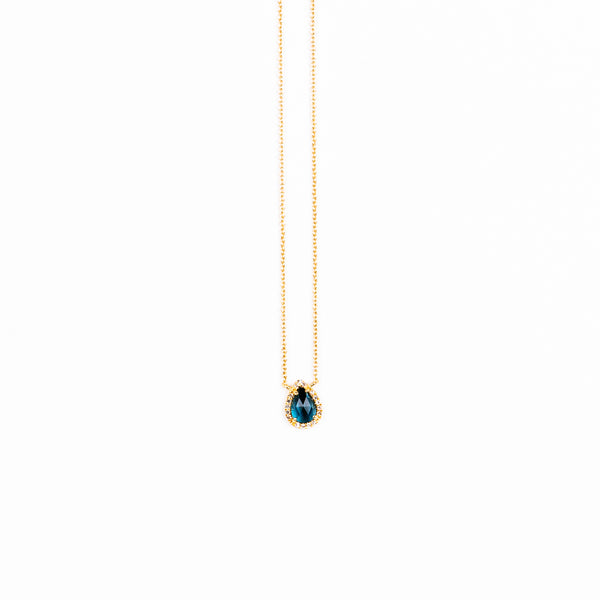Liven - London Blue Topaz pear shape necklace