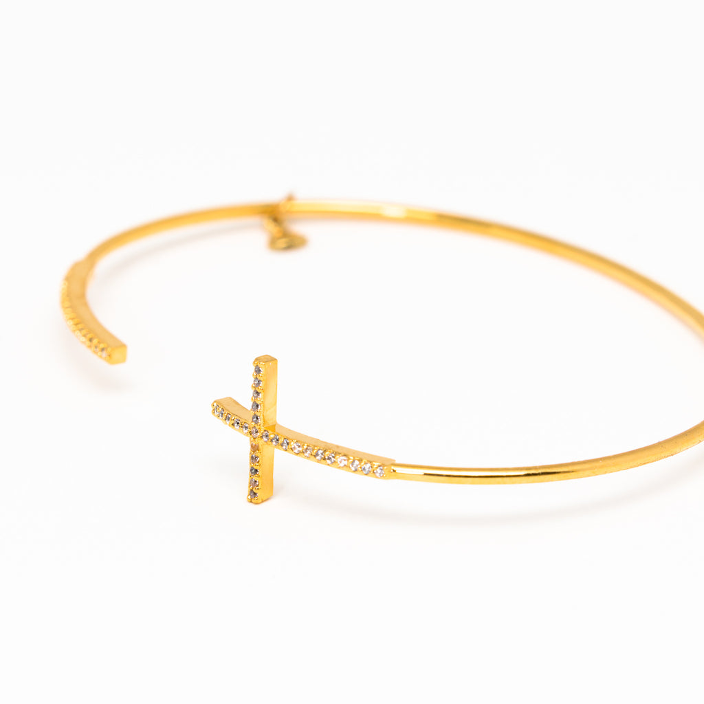 Tai Jewelry - Cross Gold Open Cuff