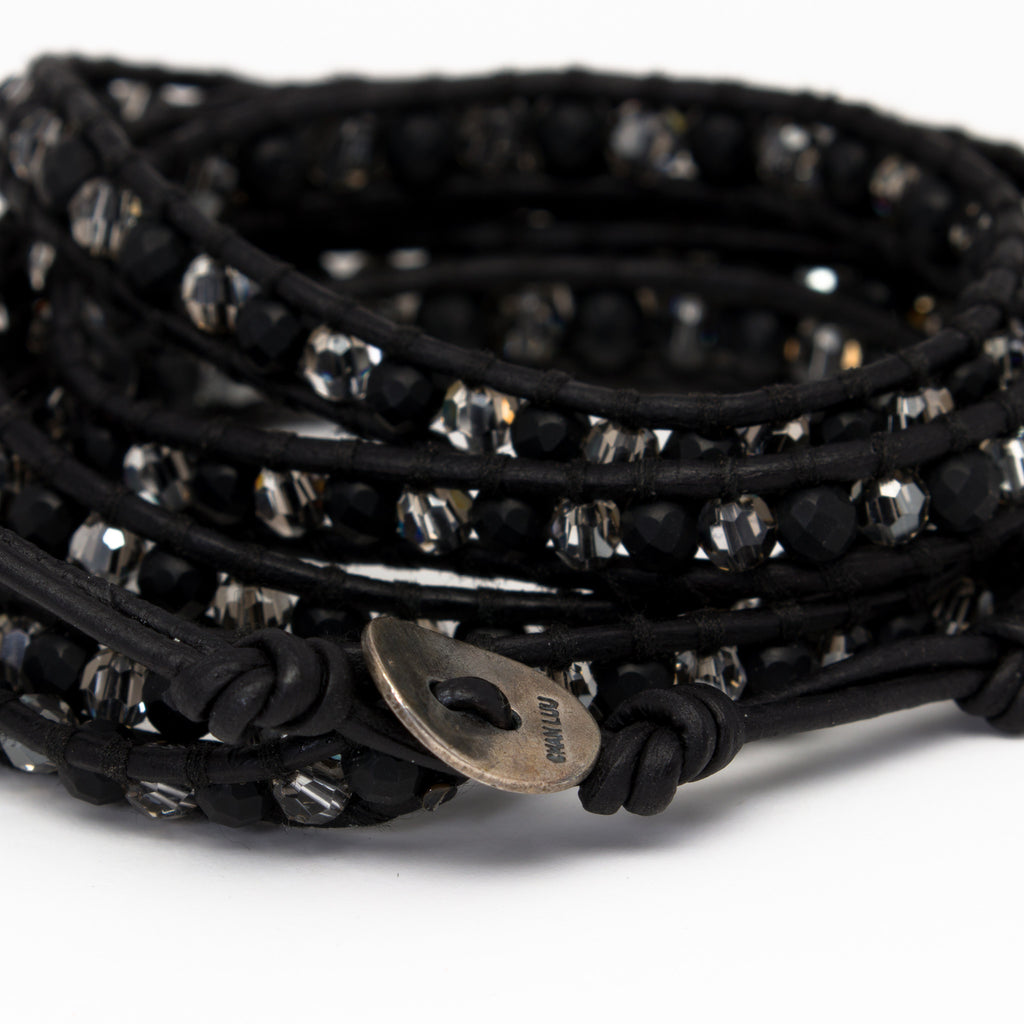 Chan Luu - Matte Onyx and Crystal on Black Leather