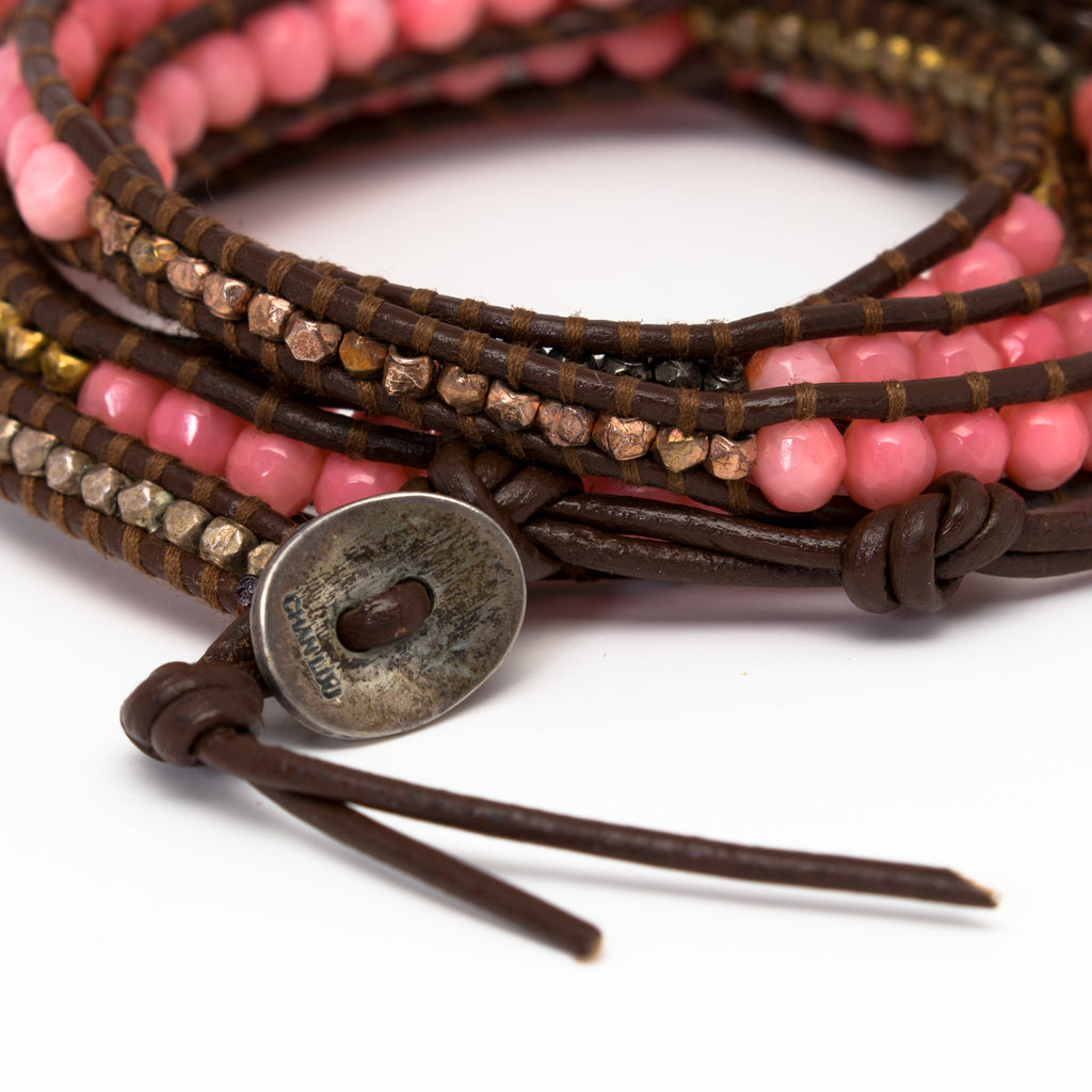 Chan Luu - Coral and Nuggets Wrap on Brown Leather