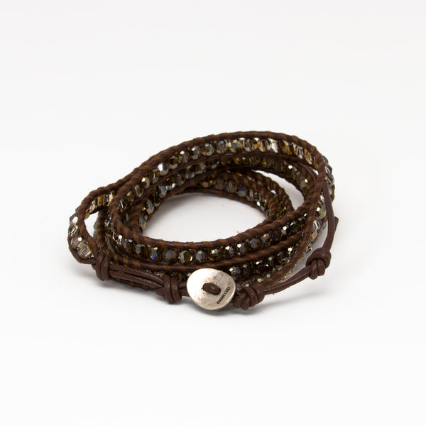 Chan Luu - Brown Crystal Wrap on Brown Leather