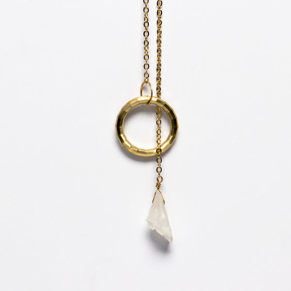 Jessica Decarlo - Circle lariat with crystal in gold