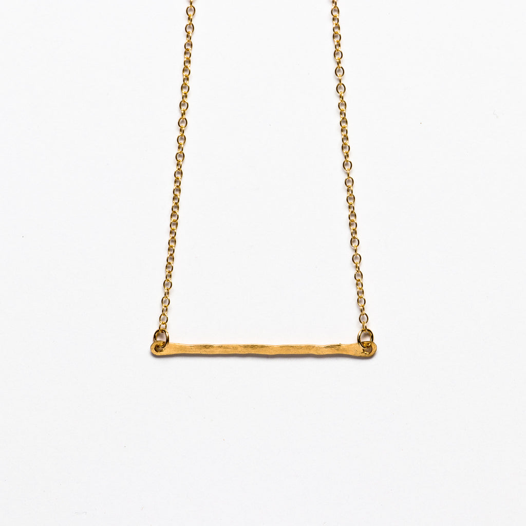 Jessica Decarlo - Hammered gold bar necklace