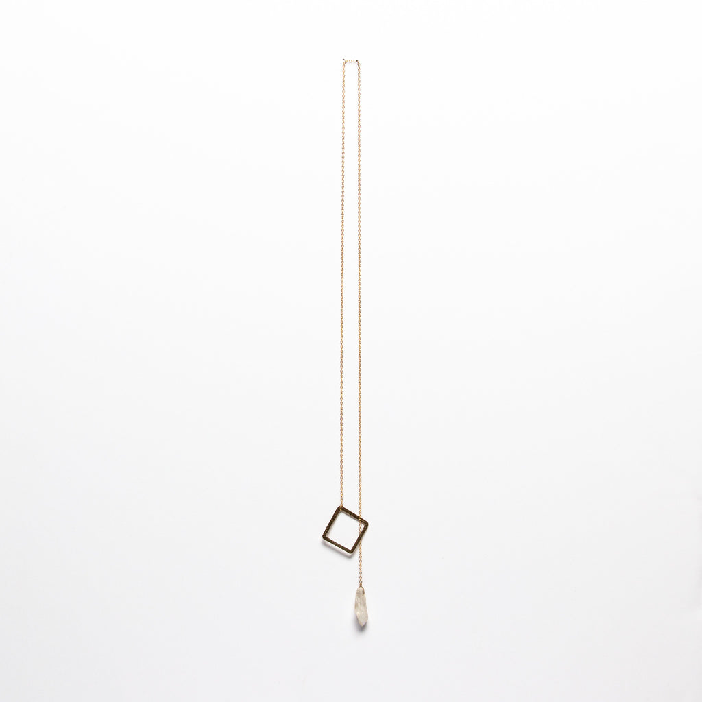 Jessica Decarlo - Square lariat with crystal in gold