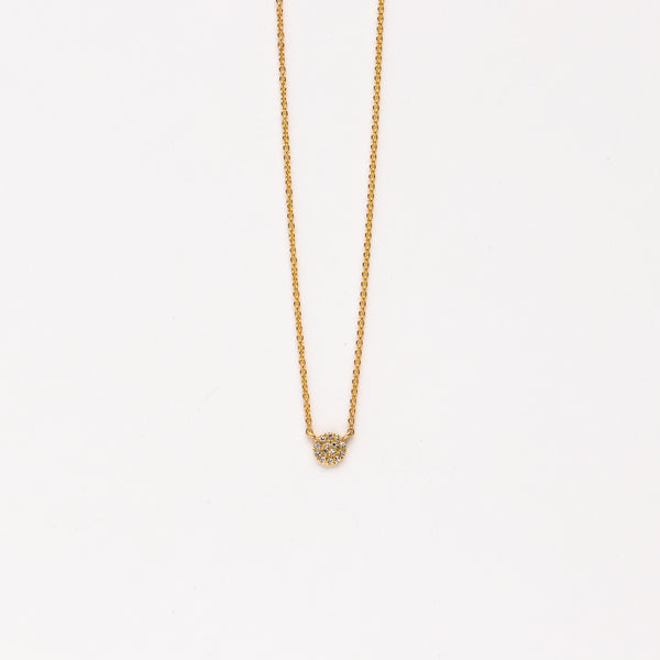 Liven - Petite pave circle necklace in yellow gold