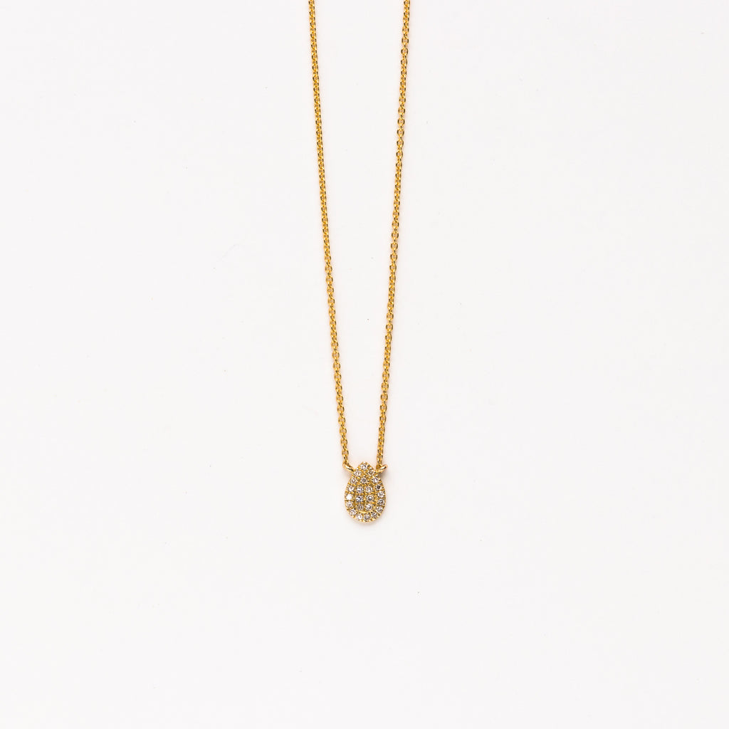 Liven - Pave teardrop necklace in yellow gold