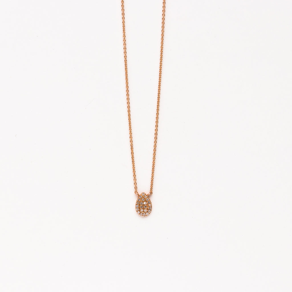 Liven - Pave teardrop necklace in rose gold