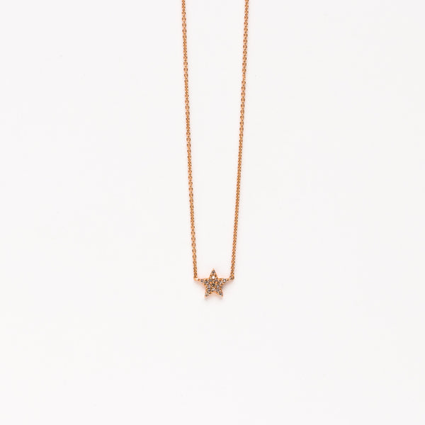 Liven - Mini pave star necklace in rose gold