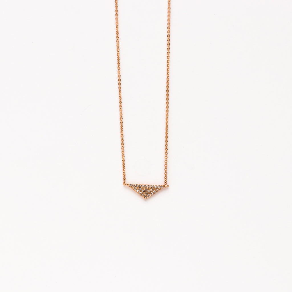 Liven - Pave triangle necklace in rose gold