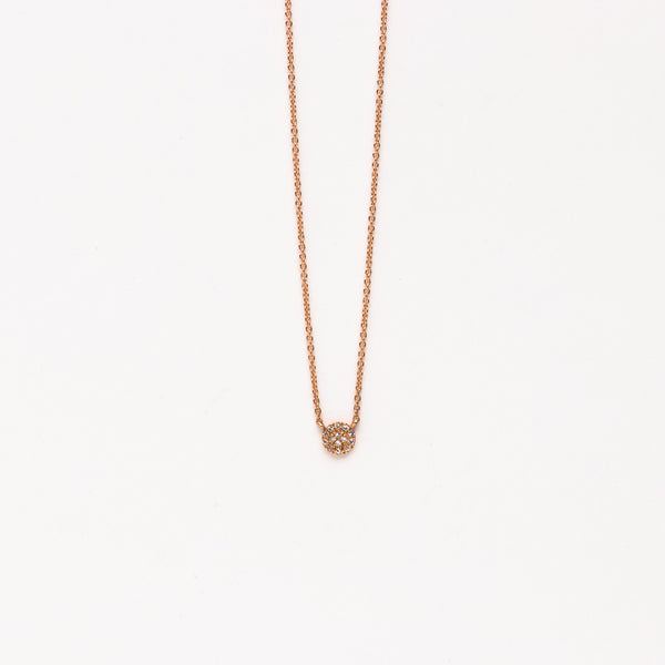 Liven - Petite pave circle necklace in rose gold