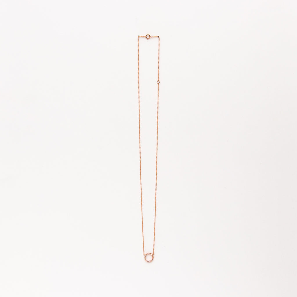 Liven - Diamond circle necklace in rose gold