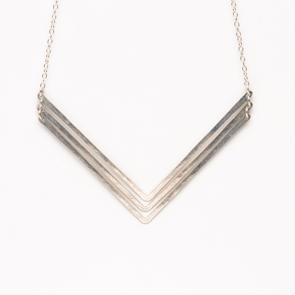 Jessica DeCarlo - Large triple chevron necklace in silver