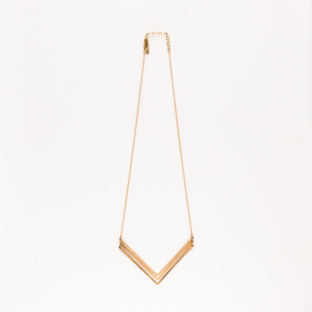Jessica DeCarlo - Large triple chevron necklace in gold