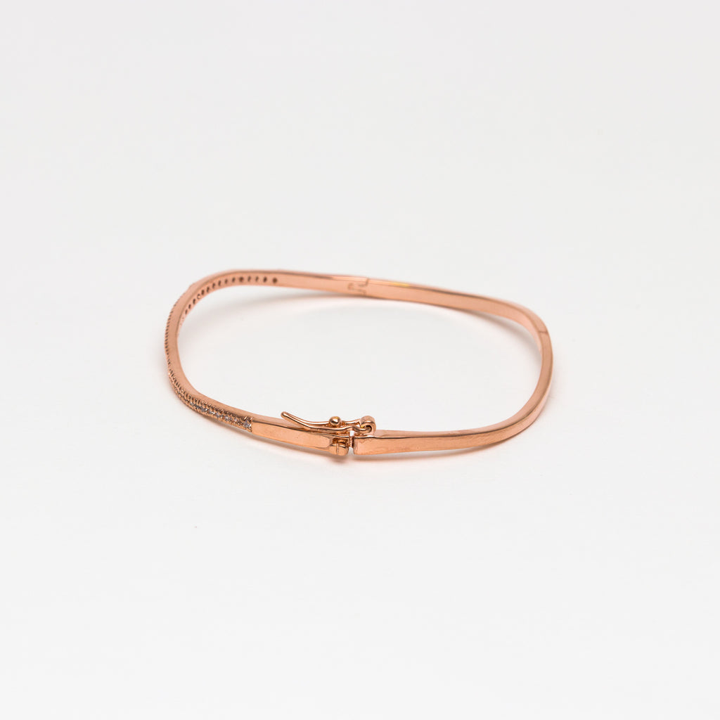 NSC - Micro pave curved cuff in rose gold