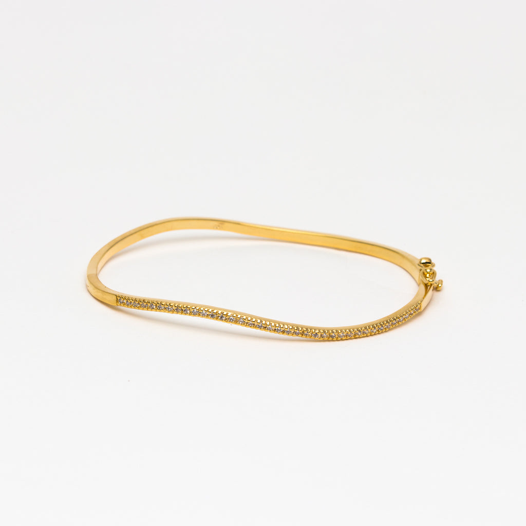 NSC - Micro pave curved cuff in gold