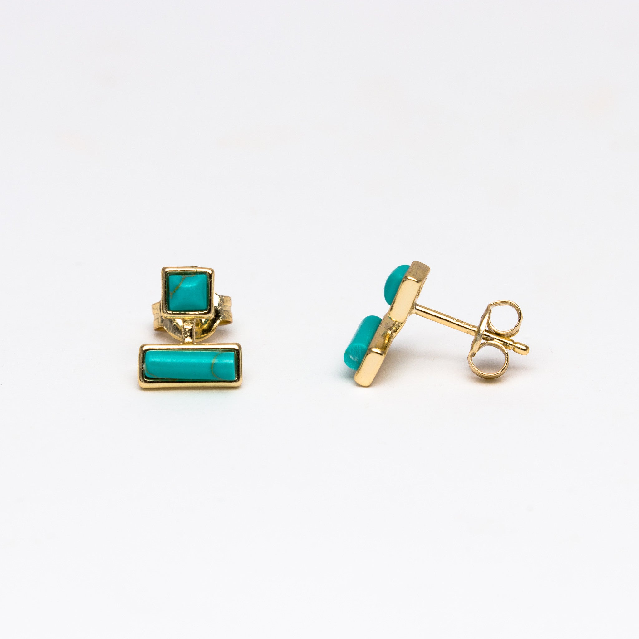 puce yellow leon products gold stud curio earring in turquoise yvonne pm