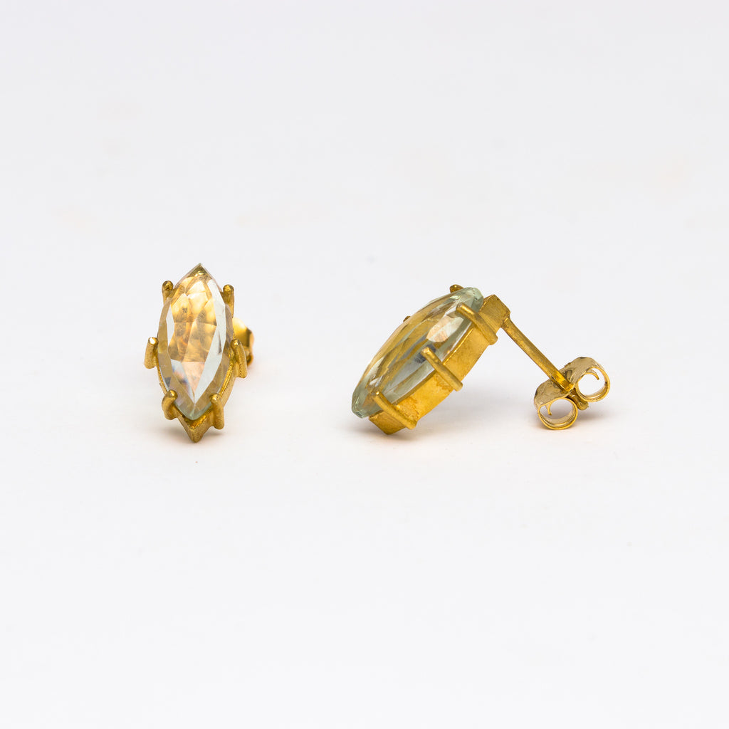 Misha - Green amethyst marque stud earrings
